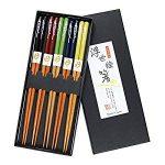 set de 4 palillos chinos de bambú en estuche