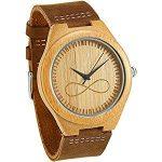 reloj de madera de bambú infinito