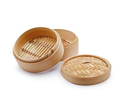 vaporeras bambu de dos pisos con tapa