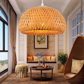 lámparas de techo de bambú
