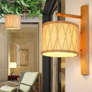 lámparas de bambú para pared