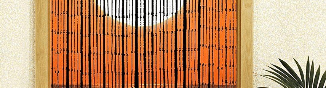 detalle de cortina de tiras de bambú