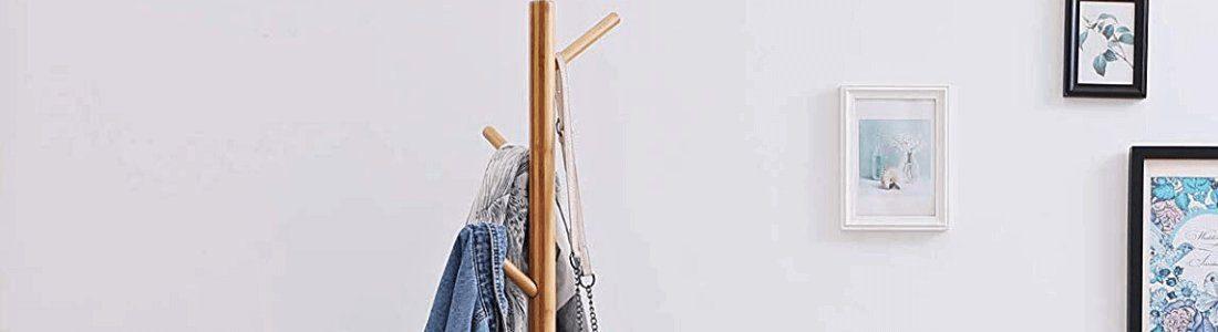 perchero de madera de bambu