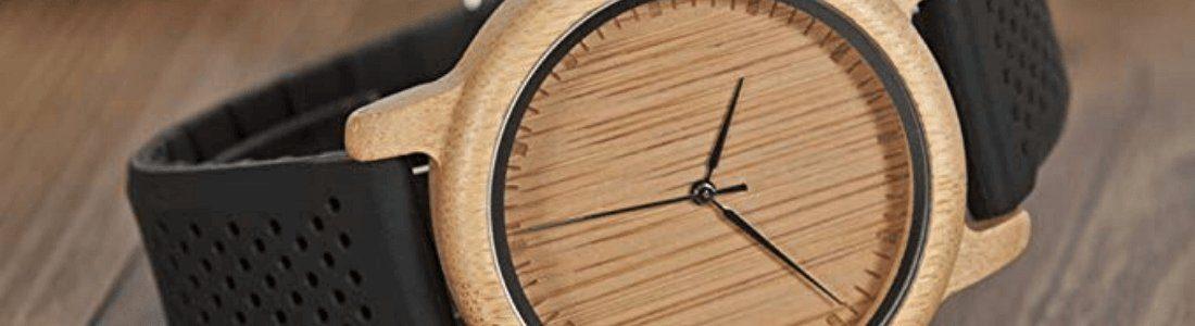 reloj de madera de bambu